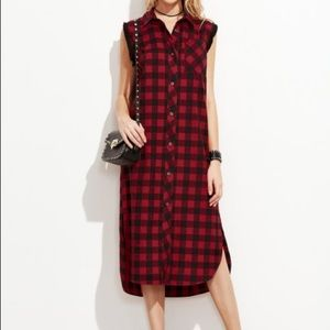 Checkered Frayed Trim Curved Hem Shirt Dress